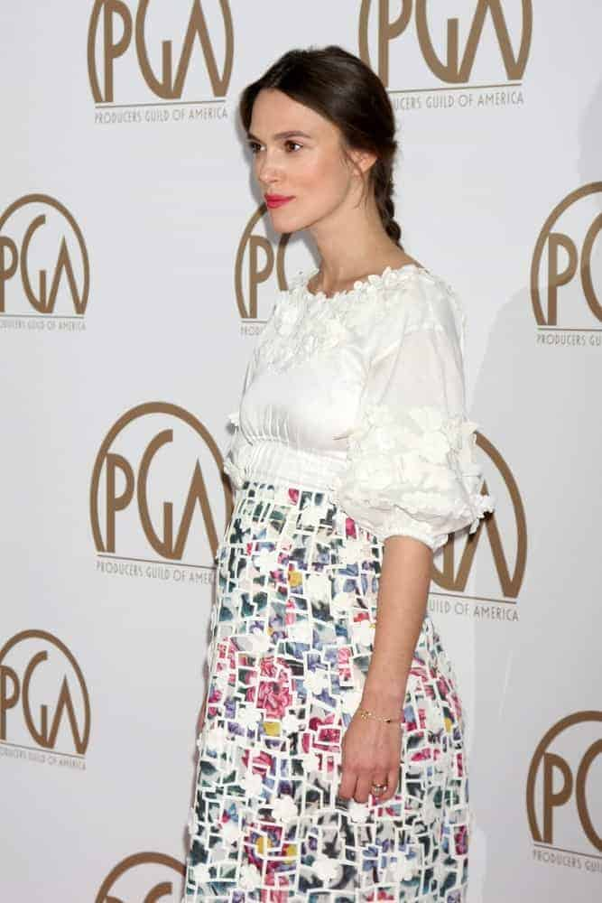 Keira Knightley was at the Producers Guild of America Awards 2015 at the Century Plaza Hotel on January 24, 2015, in Century City, CA. She wore a colorful floral dress with her simple yet classy braided hairstyle.