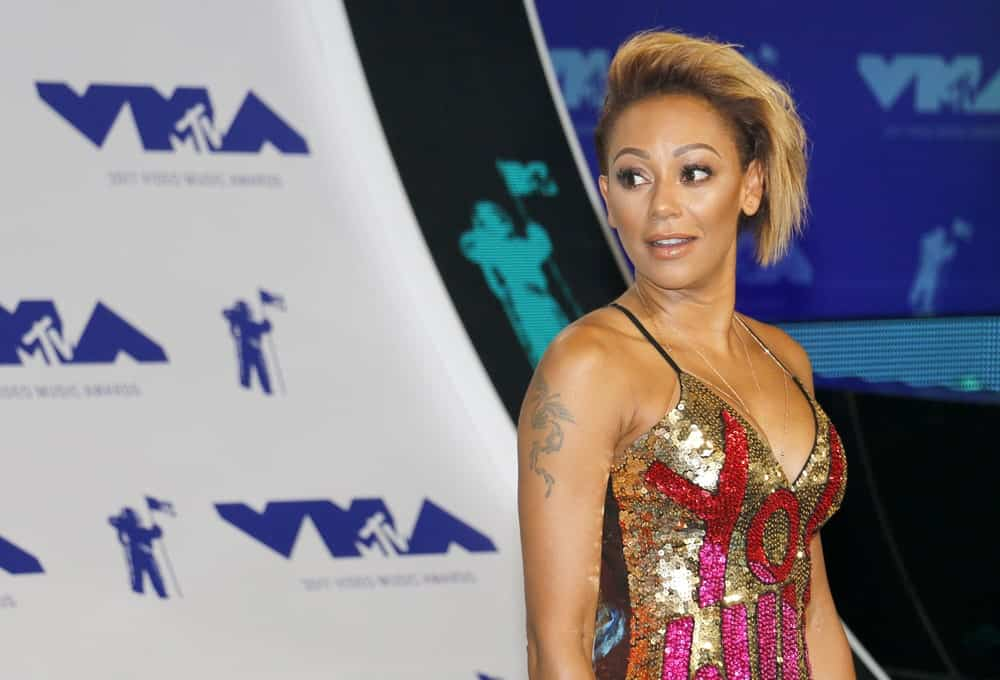 Mel B chopped off her hair into an edgy pixie that's shaved on one side. This photo was taken during the 2017 MTV Video Music Awards on August 27, 2017.