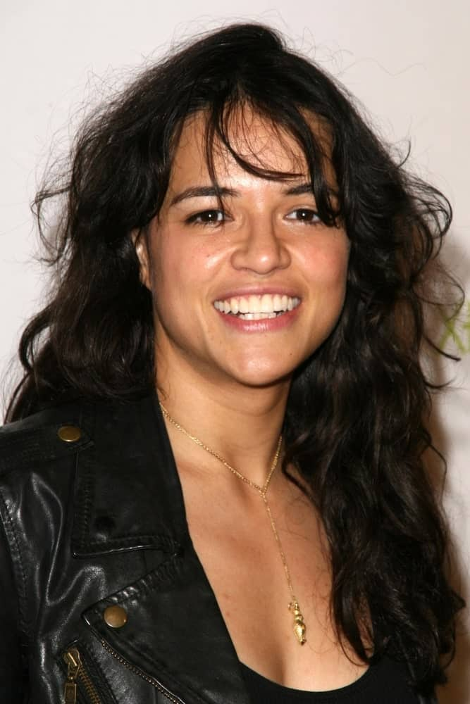 Michelle Rodriguez wearing a tousled hairstyle with wispy bangs at the launch of HALO: REACH, presented by XBOX 360 on September 8, 2010.
