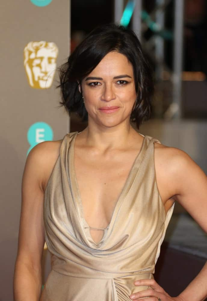 Michelle Rodriguez chopped off her black locks into a bob and styled it with subtle waves during the 72nd British Academy Film Awards on February 10, 2019.