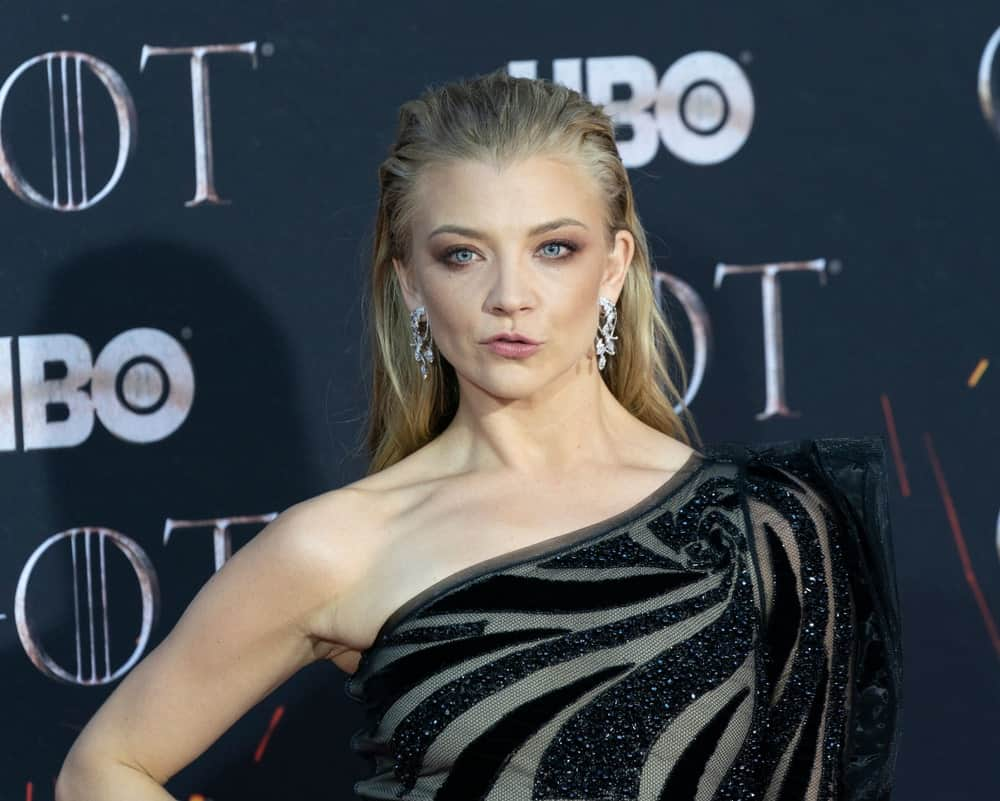 Natalie Dormer looking fabulous in a blonde slicked hairstyle that she flaunted during the HBO Game of Thrones final season premiere at Radio City Music Hall on April 3, 2019.
