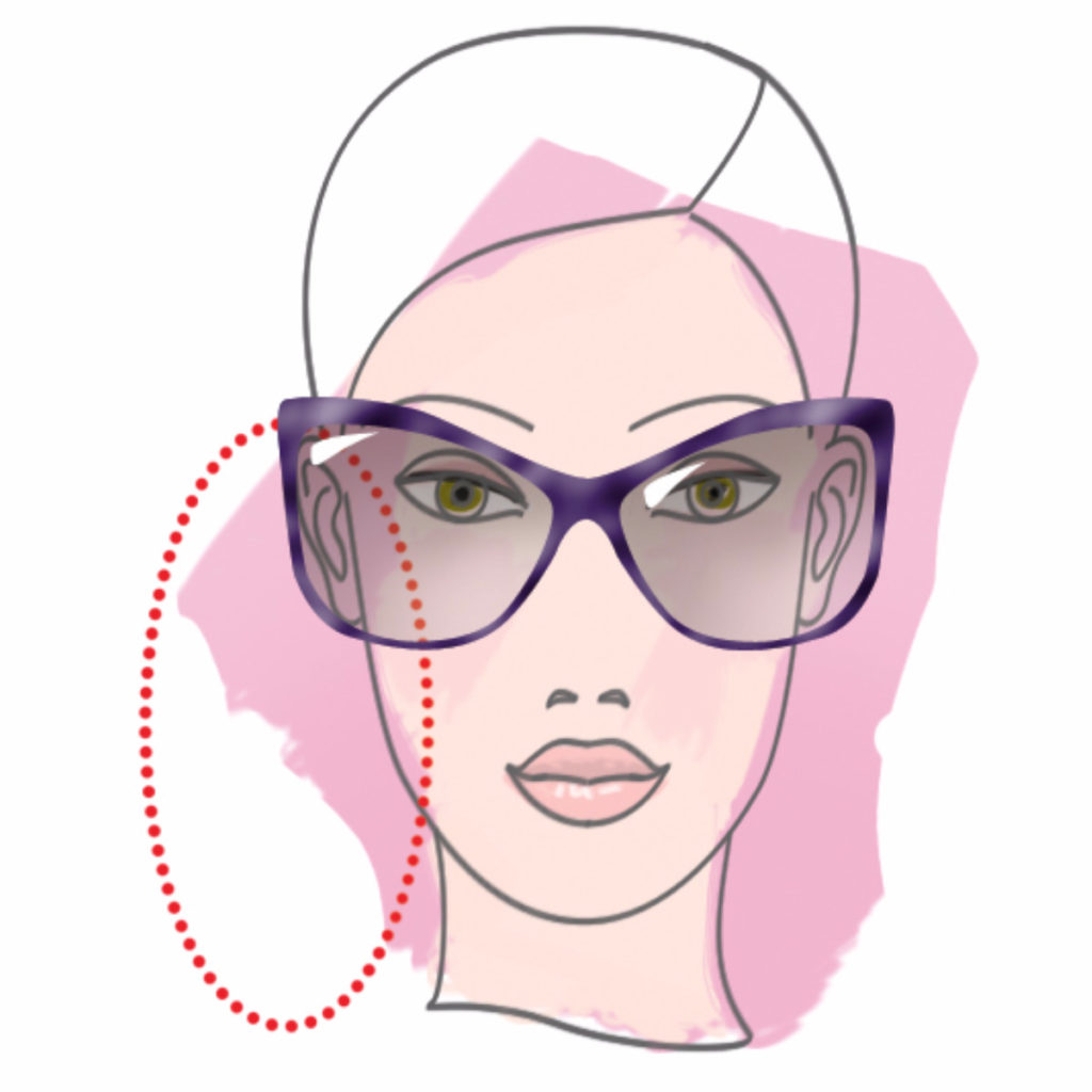 Woman example with oblong face shape - illustration