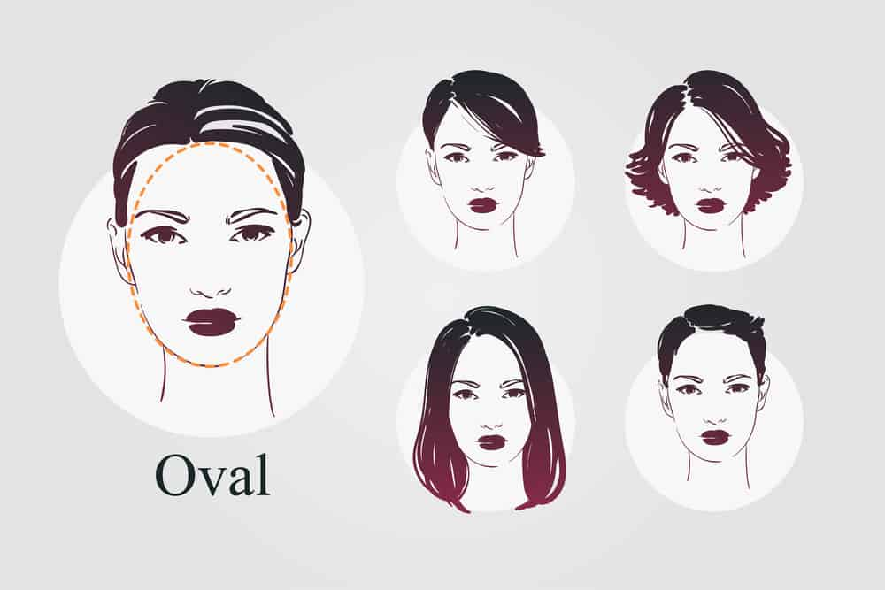 Oval face shape and hairstyles illustration