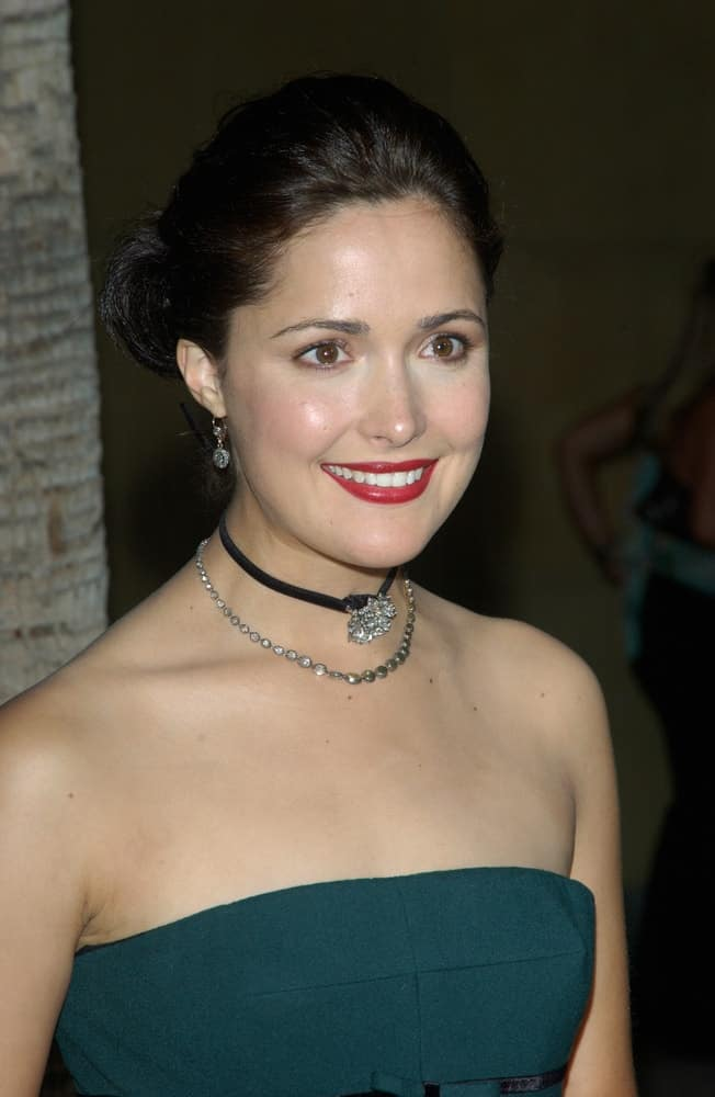 Actress Rose Byrne was at the world premiere of her movie Wicker Park on August 31, 2004 in Hollywood. She was seen wearing a green strapless dress with her raven bun hairstyle with a slick finish.