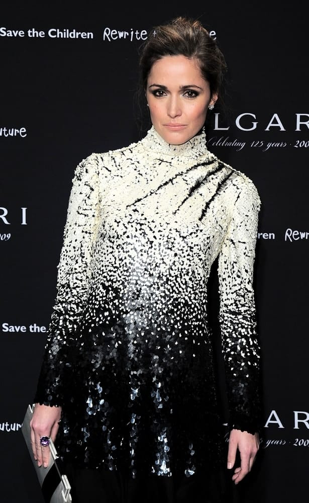 Rose Byrne wore a Valentino dress when she attended the BULGARI's 125 Anniversary Benefit Auction for Save the Children's Rewrite the Future Campaign, Christie's Auction House, New York December 8, 2009. She paired this with an elegant highlighted upstyle and lovely makeup.