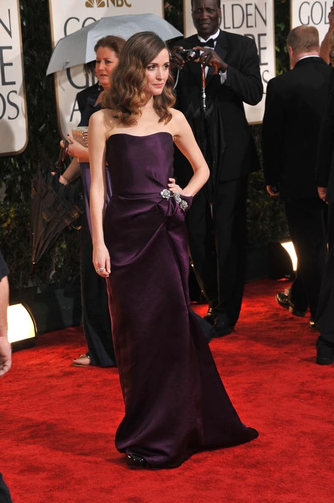 On January 17, 2010, Rose Byrne was at the 67th Golden Globe Awards at the Beverly Hilton Hotel. She wore an elegant strapless dress to pair with her medium-length highlighted wavy hairstyle with side-swept bangs.