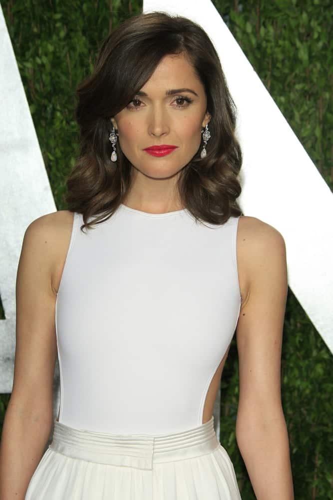 Rose Byrne attended the Vanity Fair Oscar Party at Sunset Tower on February 24, 2013 in West Hollywood, California. She wore a stunning white dress with her red lips and shoulder-length wavy dark hairstyle that has highlights and side-swept bangs.