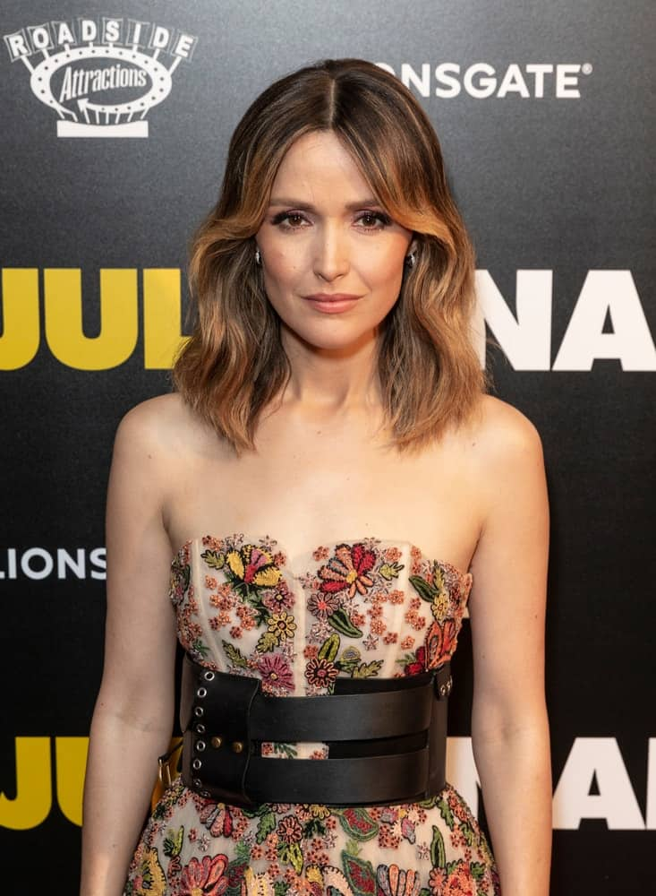 On August 14, 2018, Rose Byrne wore a dress by Dior when she attended the premiere of 'Juliet, Naked' at Metrograph. She paired this with a shoulder-length wavy brunetter hairstyle with long side bangs and highlights.