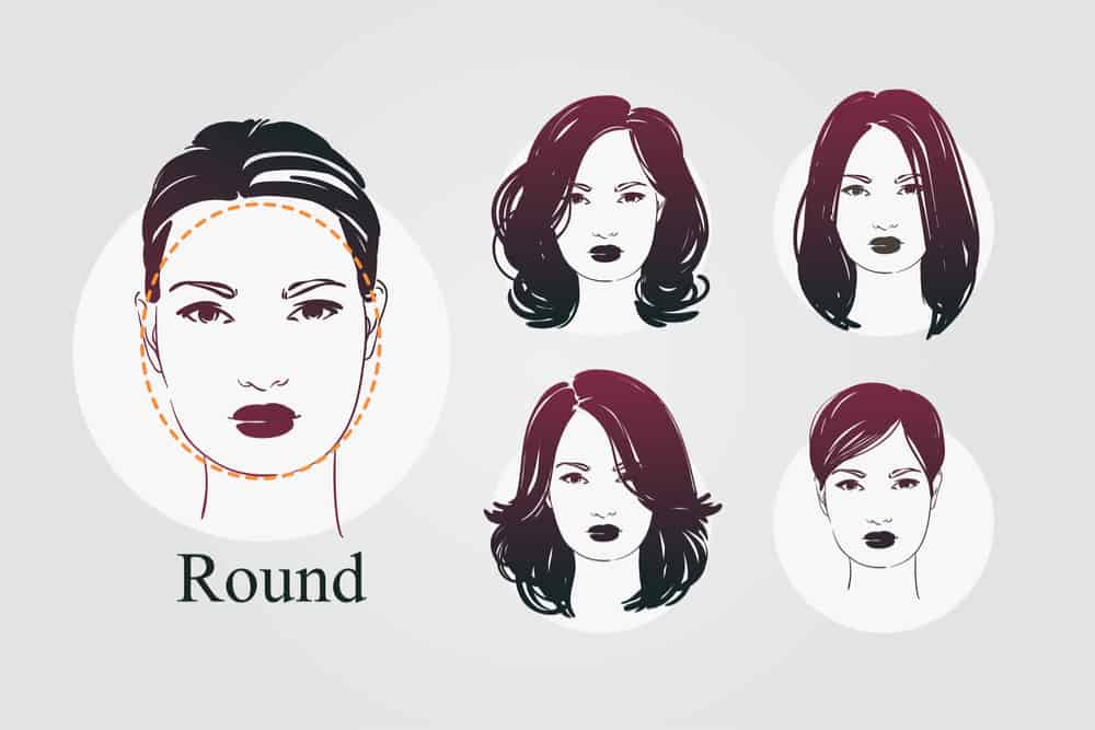 round face shape with 4 haircut examples