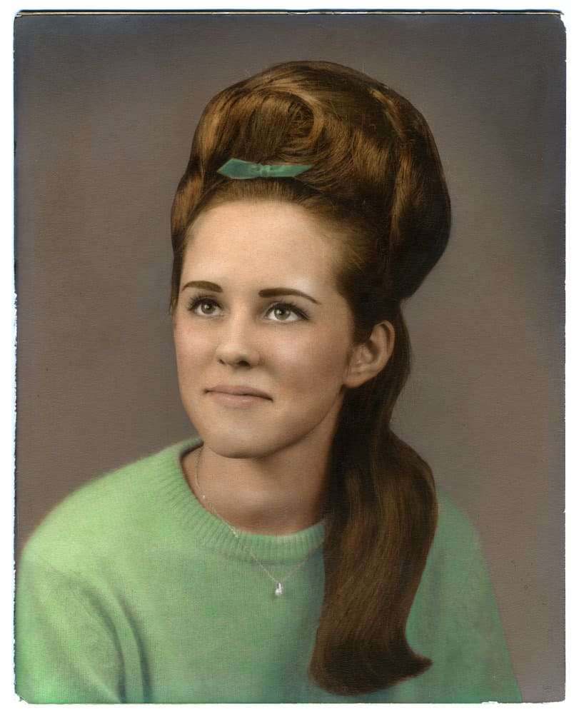 Woman with beehive hairstyle