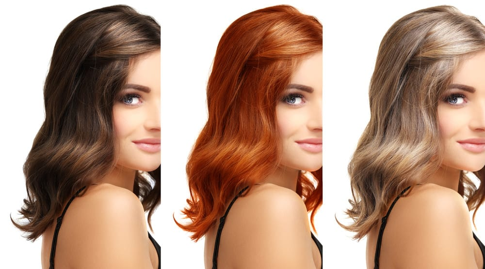 Woman with different hair colors