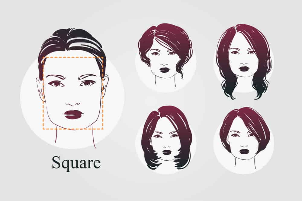 Illustrated example of woman with square face along with example hairstyles on square face