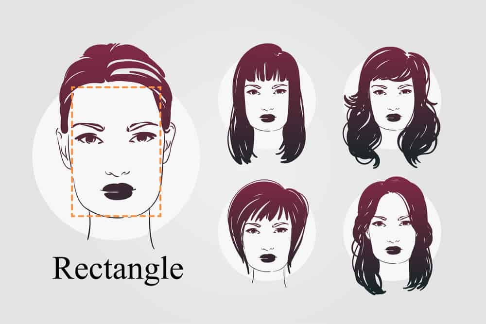 Example of woman with rectangle face and examples of hairstyles - illustration