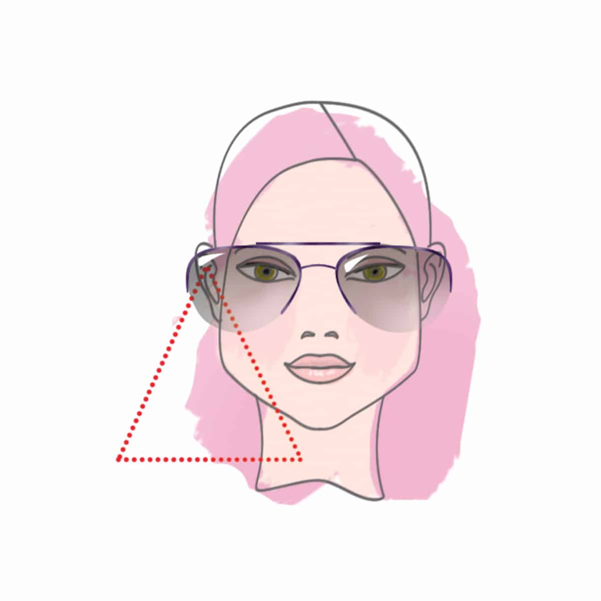 Woman with triangle face type - illustration