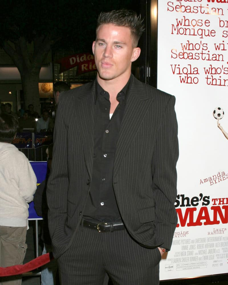 Channing Tatum goes for the spiky look at the