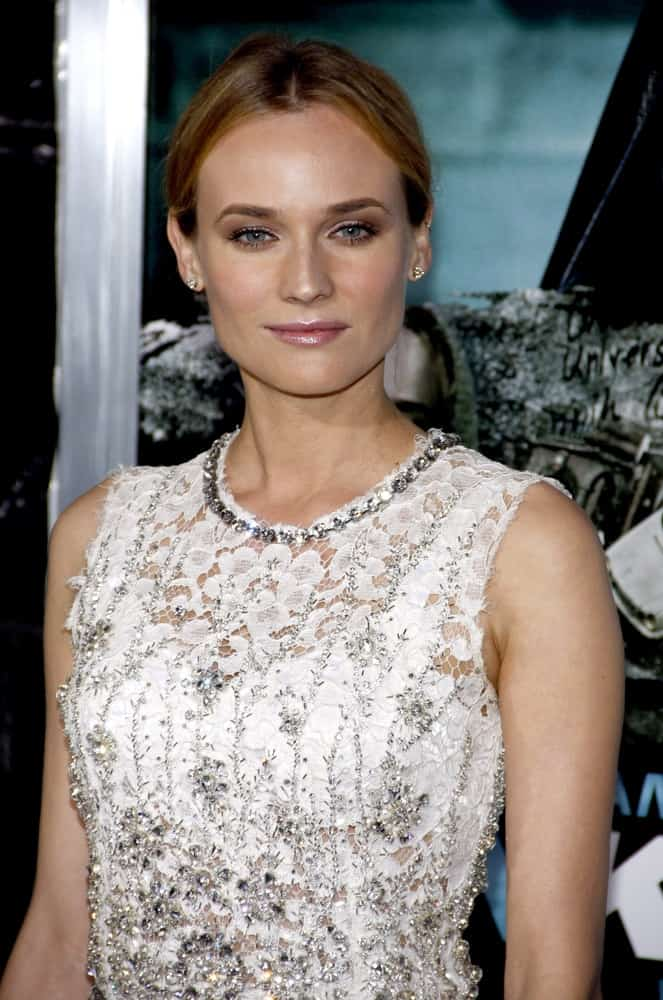 The style icon pulled her auburn locks in a twisted low bun at the Los Angeles Premiere of