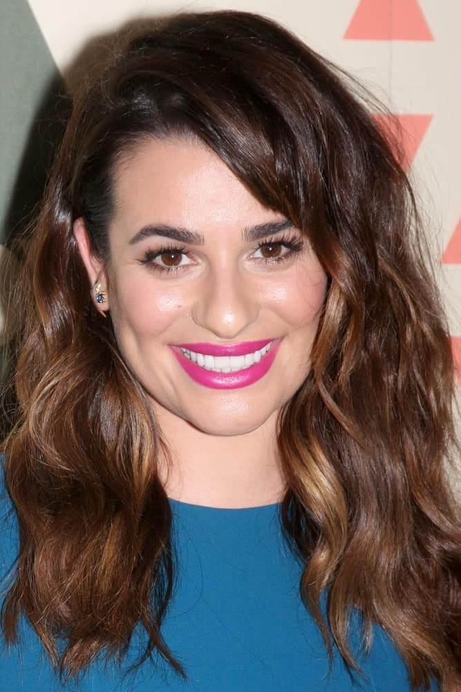 Lea Michele was edgy-glam wearing this tousled hairstyle with side-swept bangs at the FOX Summer TCA All-Star Party 2015 on August 6, 2015.