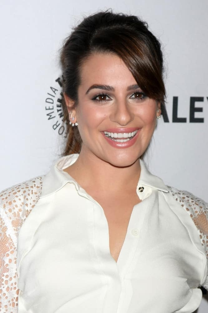 Lea Michele looks white hot with her pulled back ponytail with side-swept bangs at the PaleyFEST LA 2015 -