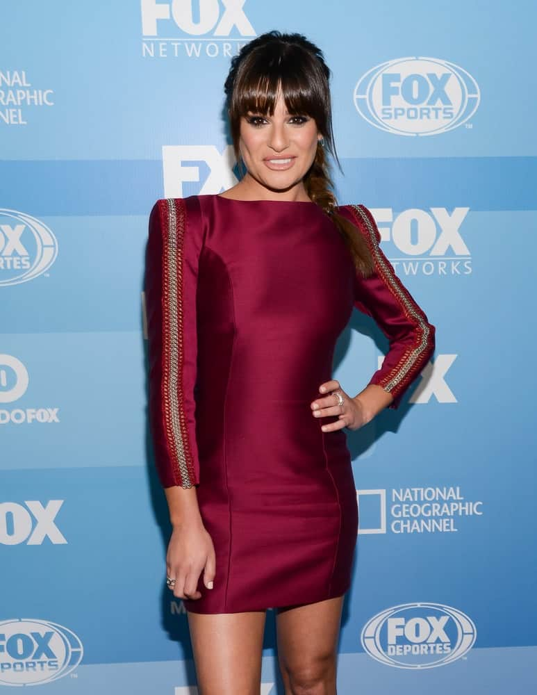 Lea Michele dazzled in a braided high ponytail with blunt bangs emphasizing her pretty face during the FOX 2015 Upfront Party held on May 11, 2015.
