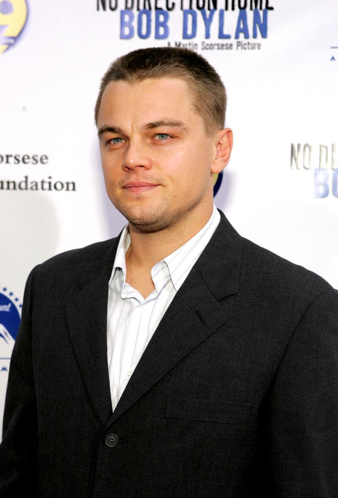 Leonardo DiCaprio appears with a long buzz cut as he attends the No Direction Home Bob Dylan DVD Premiere in New York on September 19, 2005.