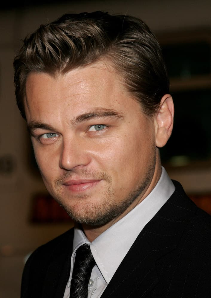 Leonardo DiCaprio with simple short hair in the 2006 Los Angeles premier of his movie