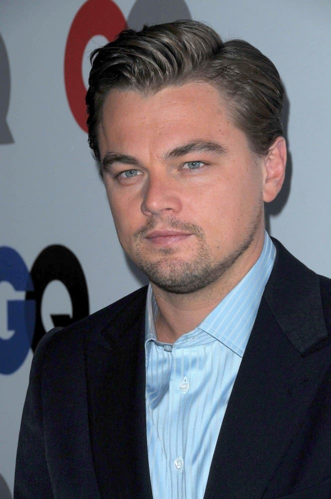 Leonardo DiCaprio looks every bit like the stud that he is with short side swept hair at the 2008 GQ