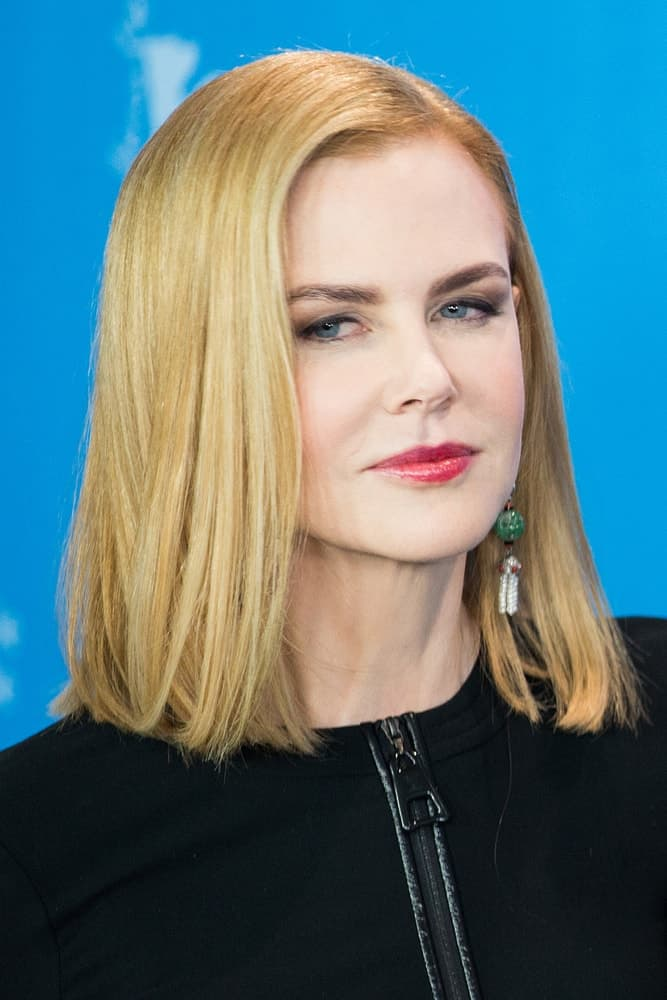 Nicole revealed her straight medium-length bob  for the photocall 'Queen of the Desert' event on February 6, 2015.