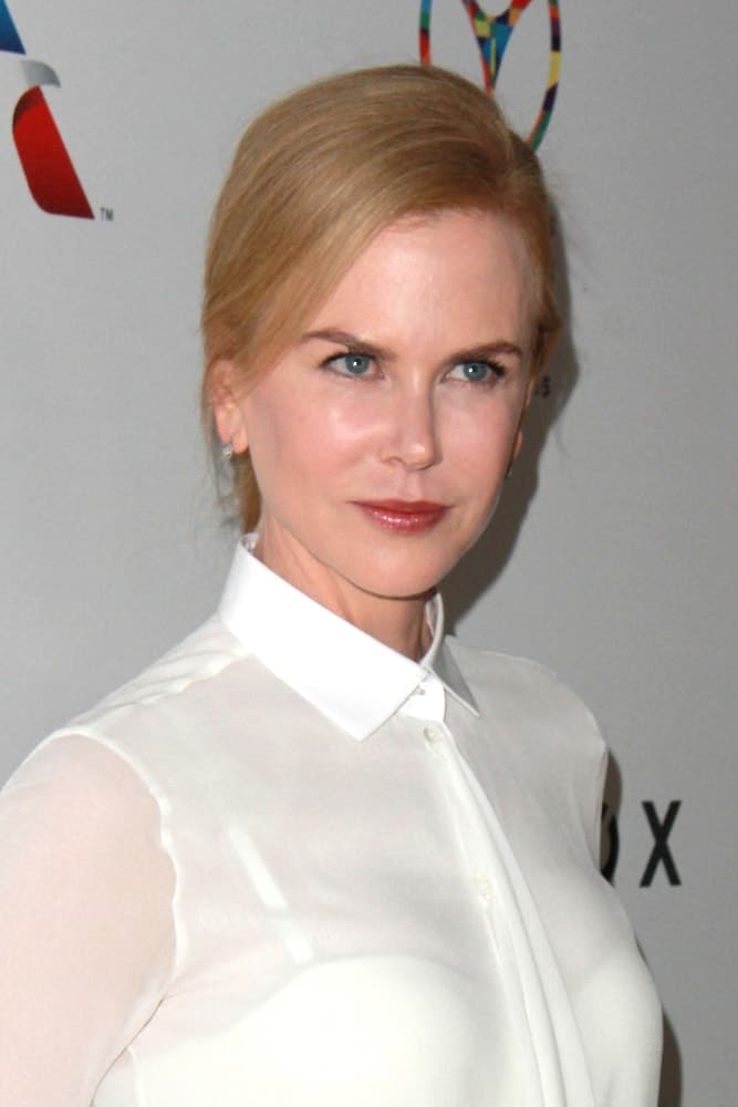 Kidman kept a simple yet classy vibe in a deep side-parted low ponytail with side-swept bangs as she attends the 3rd