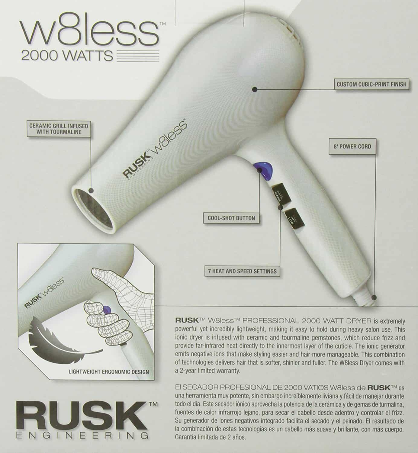 Information on the RUSK w8less blow dryer