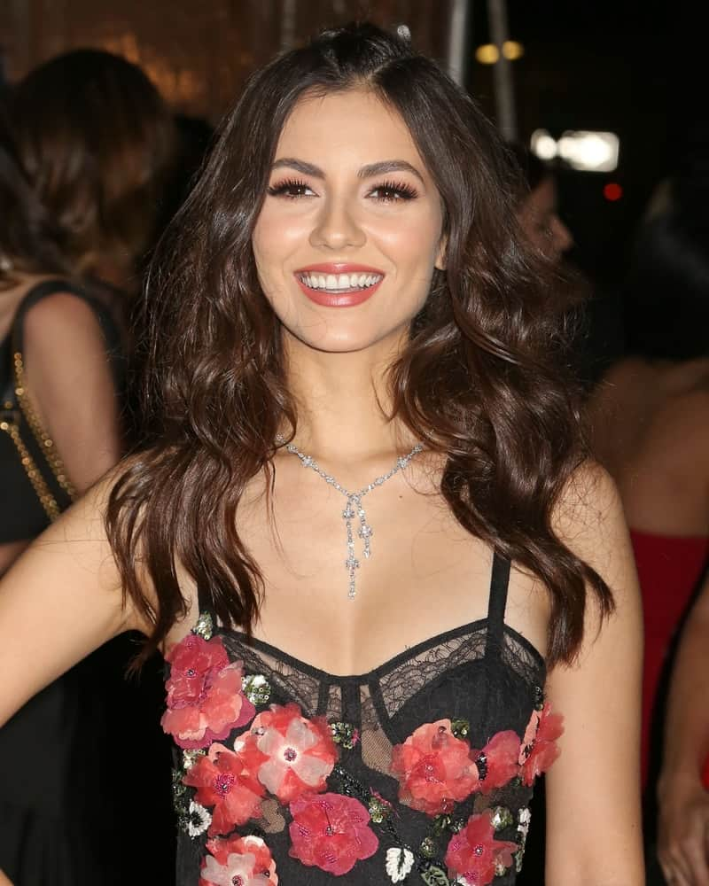 Victoria Justice is glowing with her voluminous curls hairstyle as she attends the amfAR Gala at Cipriani Wall Street on February 8, 2017.
