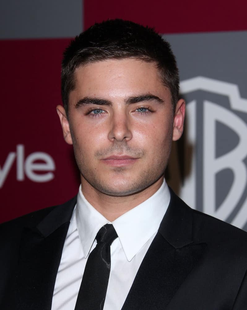 Zac Efron oozes with masculine appeal with his buzz cut 'do at the 12th Annual WB-In Style Golden Globe After Party on January 16, 2011 in Beverly Hills CA.
