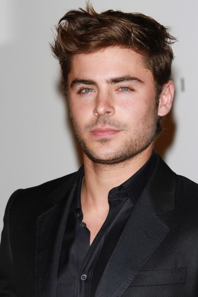 Zac Efron looks debonair with short, side-swept quiff as he attends the LACMA Art + Film Gala Honoring Clint Eastwood and John Baldessari in 2011.