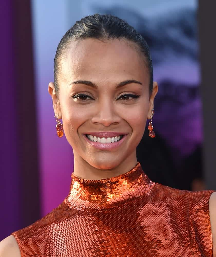 The Guardians of the Galaxy actress completed her intergalactic look with a long-twisted ponytail at the Guardians of the Galaxy Vol. 2 world premiere on April 19, 2017.
