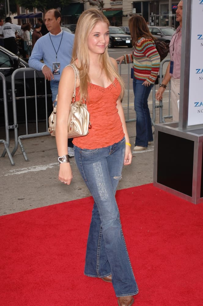 Actress Ashley Benson was at the Los Angeles premiere of Zathura on November 6, 2005. She wore a casual jeans outfit with her long and straight sandy blonde hairstyle loose and layered on her shoulders.