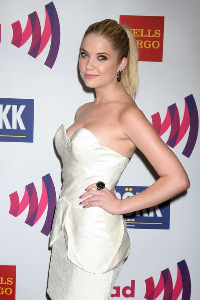 Ashley Benson attended the 25th GLADD Media Awards at Westin Bonaventure Hotel on April 10, 2011 in Los Angeles, CA. She paired her sexy white strapless dress with a highlighted and slick ponytail.
