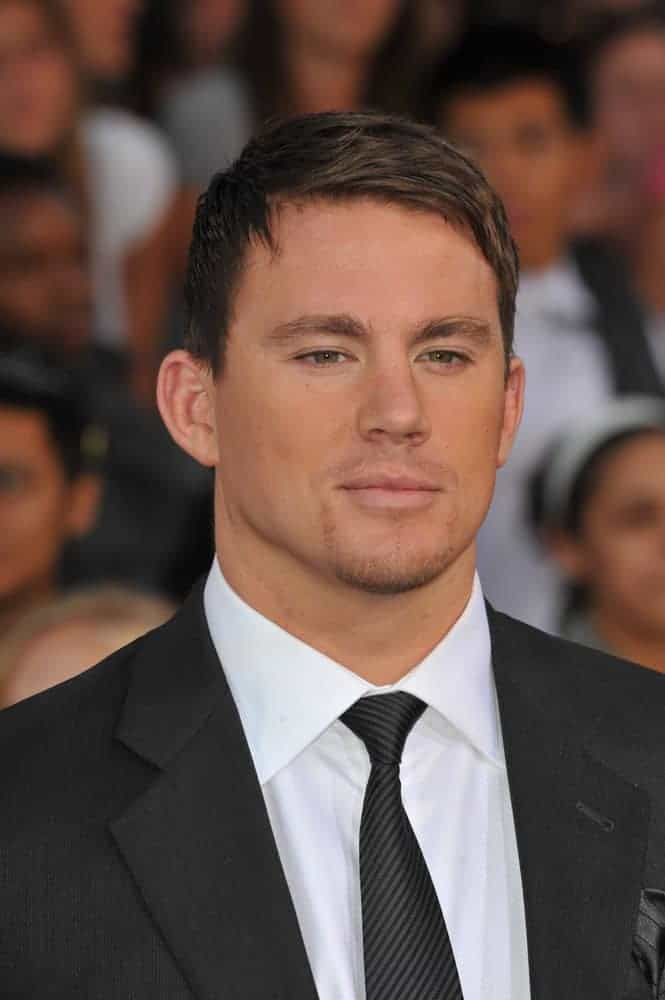 "Channing Tatum showcasing his gorgeous side with short side-parted hairstyle and brown highlights. This look was worn at the Los Angeles premiere of his movie ""G.I. Joe: The Rise of Cobra"" held on August 6, 2009."