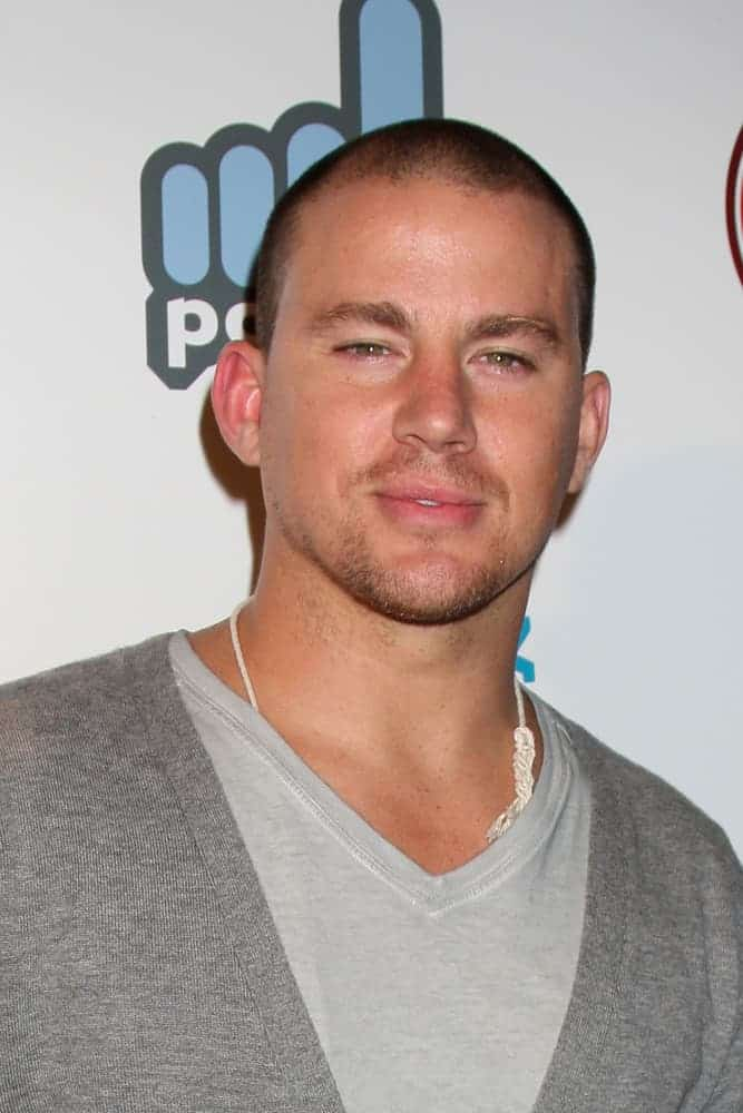 "Channing Tatum was spotted at ""The From Dusk 'til Con"" Party at Stingaree on July 22, 2010 with a buzz cut hairdo and a gray casual getup."