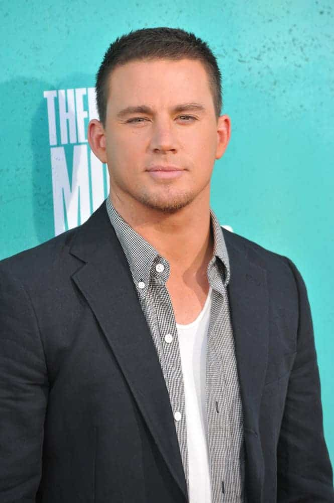 Channing Tatum sported a short crew cut 'do and some beard during the 2012 MTV Movie Awards at Universal Studios, Hollywood on June 4, 2012.