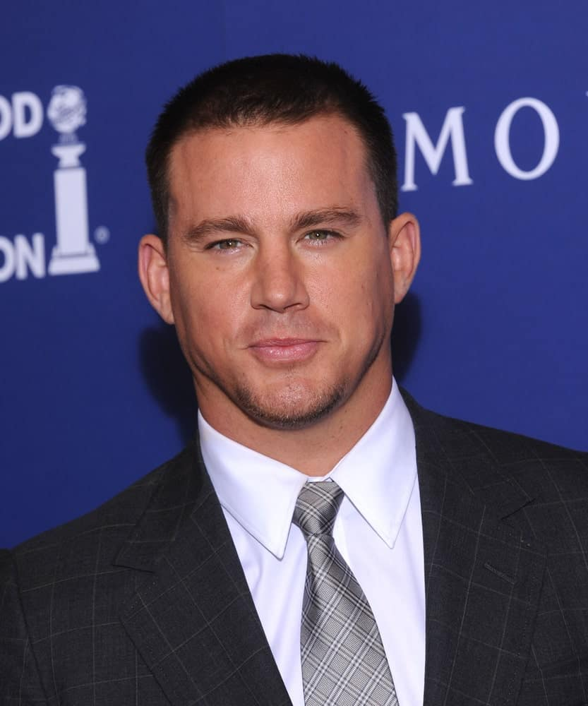 Channing Tatum wore a check suit and tie along with a buzz cut 'do and some beard during the HFPA Annual Installation Dinner 2014 on August 14th.