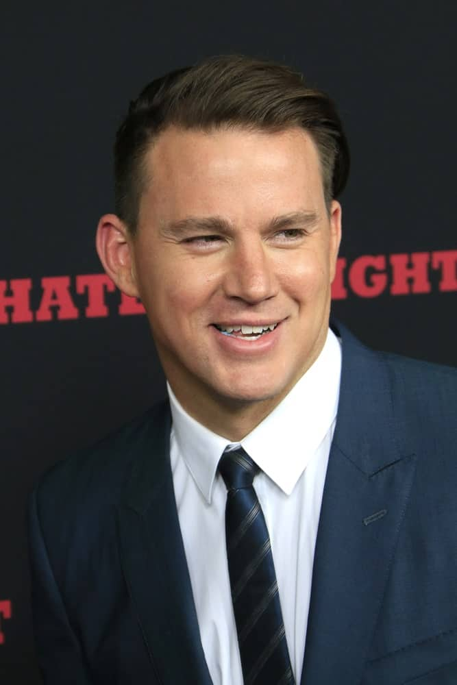 Channing Tatum showcased a neat and prim look with his slicked back hairdo at the world premiere of Quentin Tarantino's