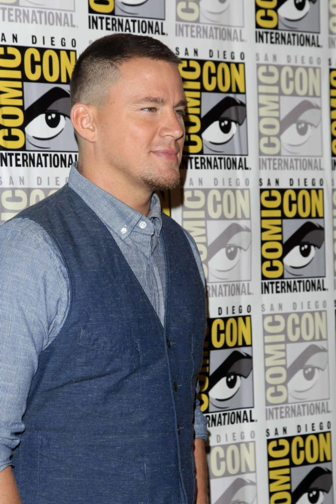 Channing Tatum had a buzz cut haircut incorporated with a low bald fade during the Comic-Con International 2017 for the