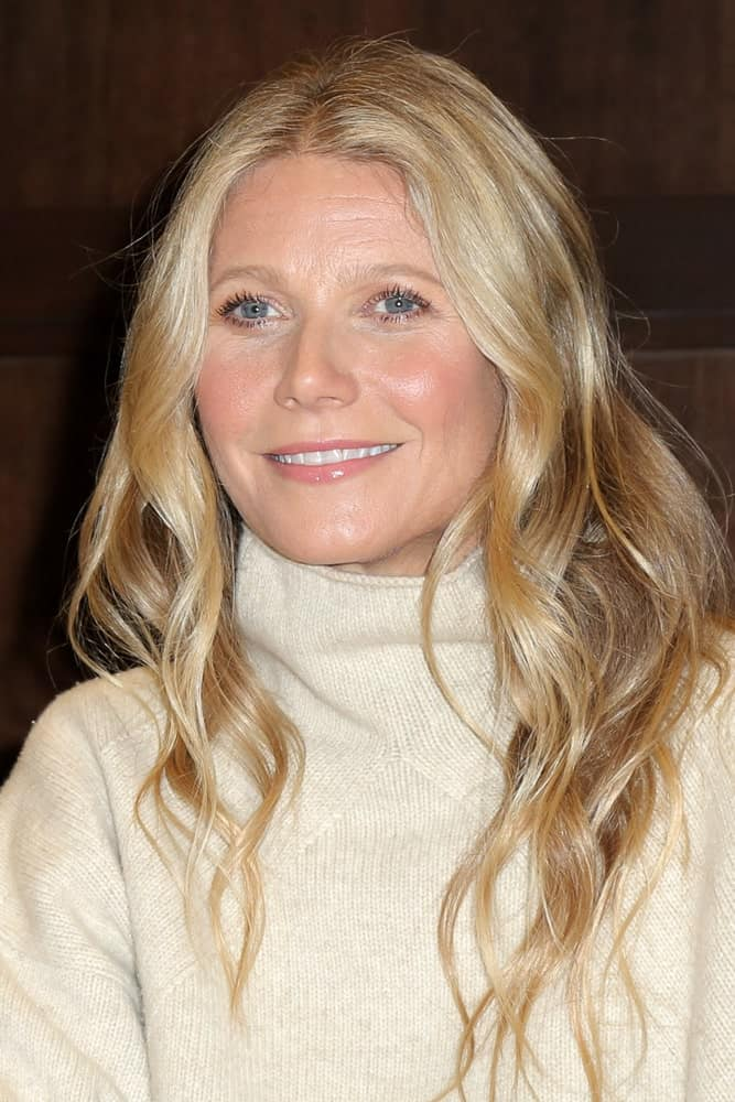 Gwyneth Paltrow styled her blonde tresses with soft waves during the signing of her new Book
