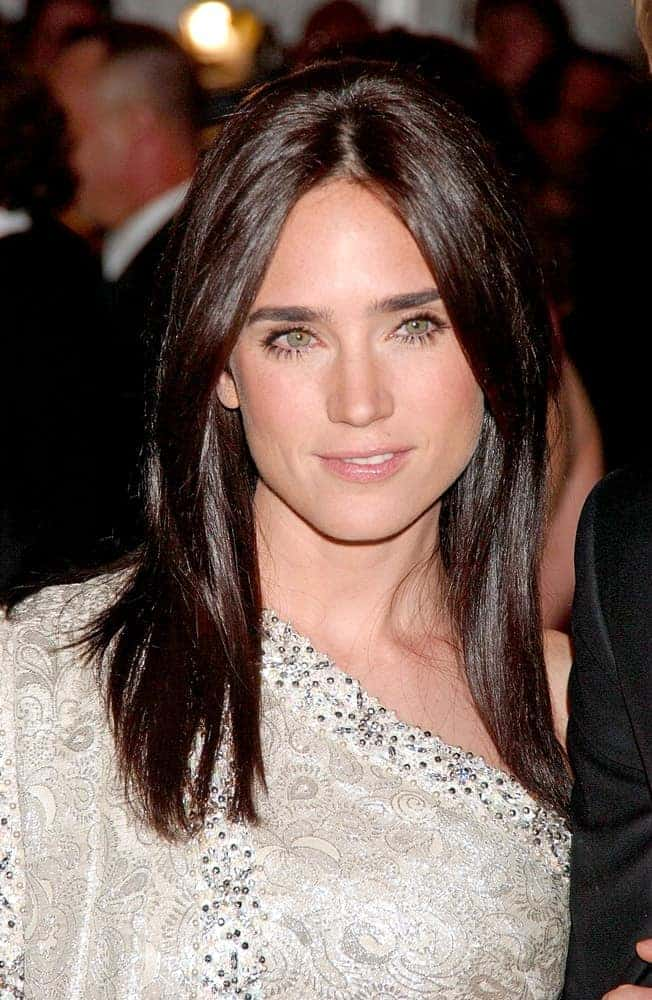 Jennifer Connelly was at The Poiret King of Fashion Metropolitan Museum of Art Costume Institute Annual Gala at The Metropolitan Museum of Art in New York on May 07, 2007. She was lovely in a light beige dress to pair with her medium-length dark hairstyle that is loose, tousled and layered.