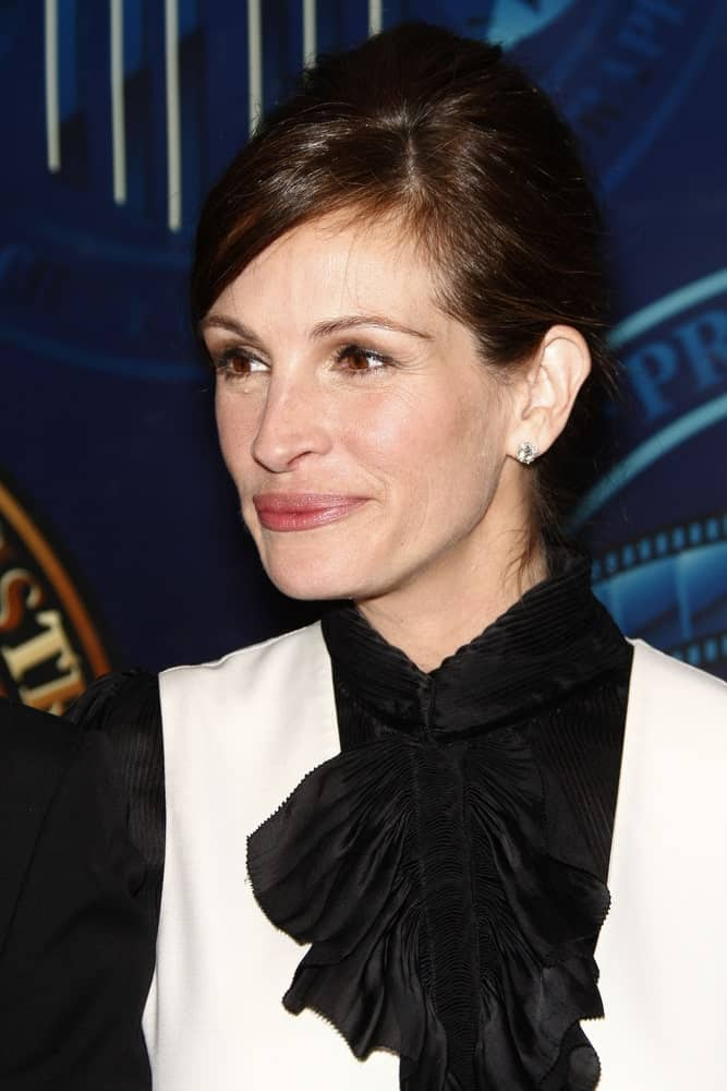 Julia Roberts was seen at the American Society of Cinematographers 25th Annual Outstanding Achievement Awards on February 13, 2011 with a sophisticated upstyle hairstyle.