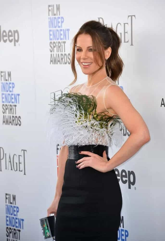 The actress' dark-colored, wavy hair is styled into a ponytail with tendrils during the 2017 Film Independent Spirit Awards.