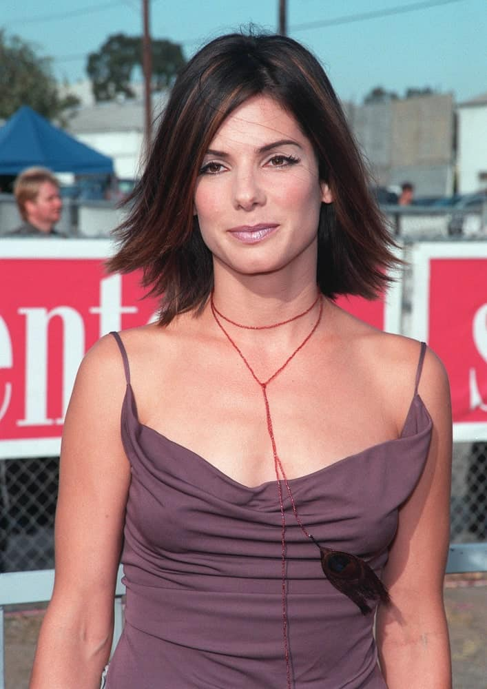 Back in August of 1999, actress Sandra Bullock was at the 1999 Teen Choice Awards in Santa Monica, where she wore a casual blouse with her layered and highlighted bob hairstyle flipped at the tips.