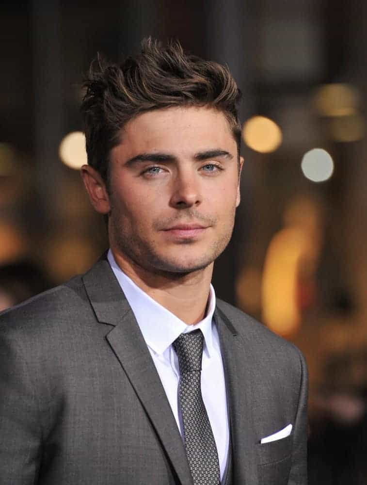 Zac Efron looked dreamy with short highlighted quiff haircut during the world premiere of his movie