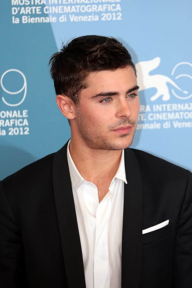 Zac Efron looked fresh and younger on a crew cut with subtle fade and spikes at the Venice Film Festival on August 31, 2012 in Venice, Italy.