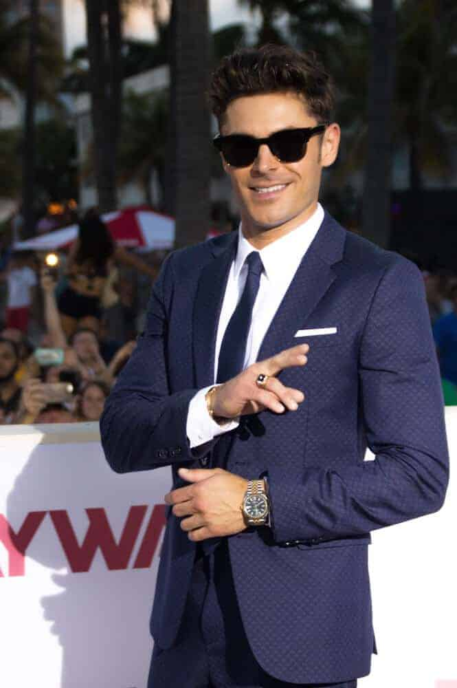 Zac Efron arrived at the premiere of Baywatch: The Movie in Miami Florida sporting a hairdo that resembles Elvis Presley's rockabilly look.