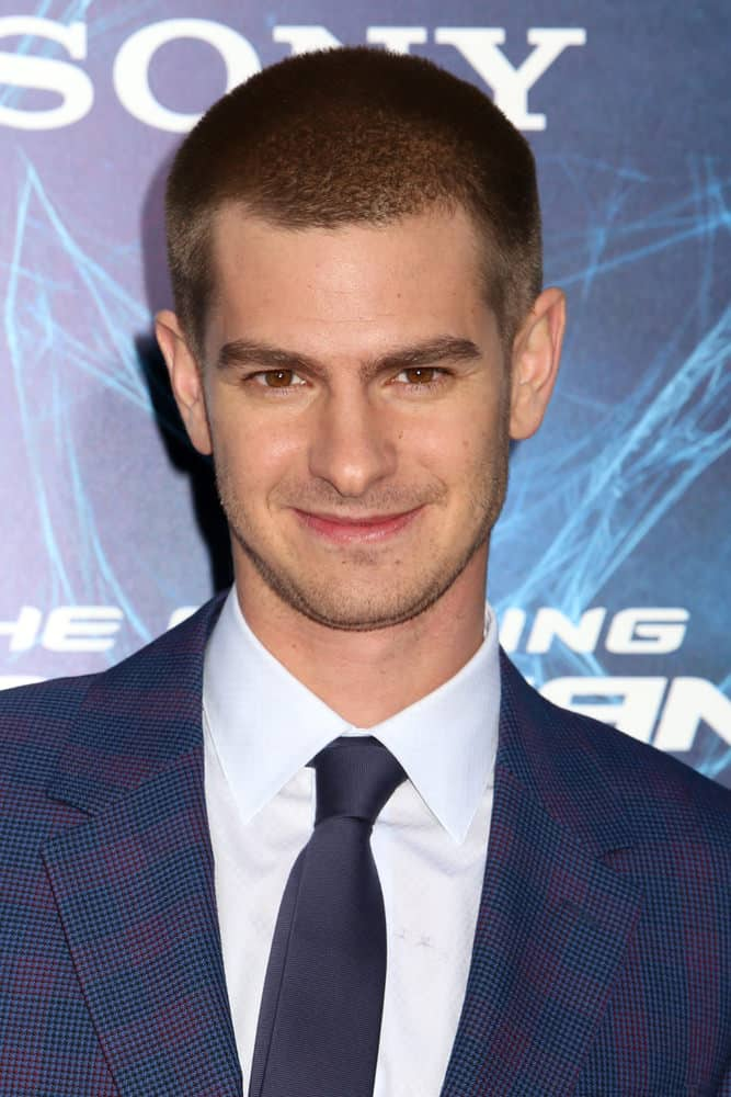 "Andrew Garfield looks as sweet as ever even with a manly buzz cut during the premiere of ""The Amazing Spiderman 2"" in 2014."
